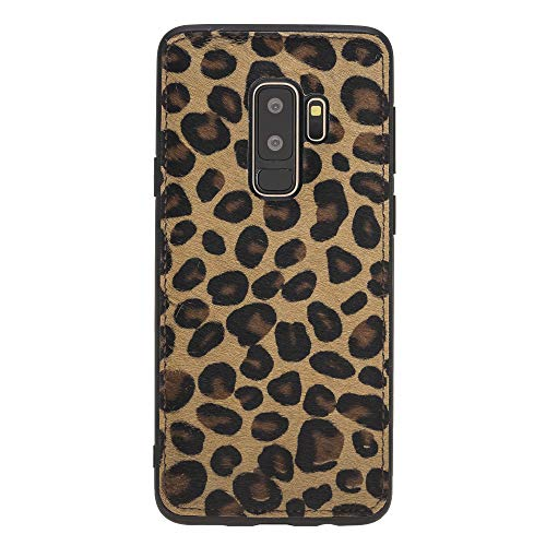 Venito Lucca Samsung Galaxy S9 Plus Leather Case, Snap-On Back Cover for Samsung Galaxy S9Plus | Slim and Lightweight | Handcrafted Premium Full Grain Leather (Furry Leopard)