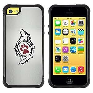 Suave TPU GEL Carcasa Funda Silicona Blando Estuche Caso de protección (para) Apple Iphone 5C / CECELL Phone case / / Paw Art Drawing Tattoo Red /