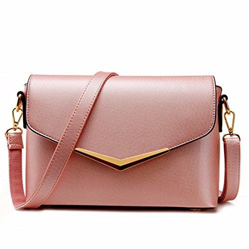 Semplice spalla borsa da donna mano messenger piccola piazza Borsa, rosa