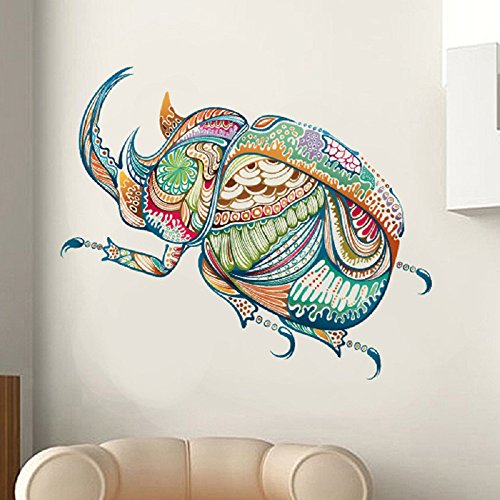 (LiveGallery Cute Cartoon Colorful Beetle Wall Stickers Murals Removable Vinyl Insects Animals Wall Decals Decor for Nursery Room Kids boys Children Bedroom Living Room Background Decorations)