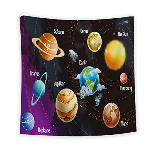 (Outer Space Wall Tapestry Wall Hanging, Wall Art Hanging Bedspread Beach Towel for Living Room Bedroom Decor, Solar System of Planets Neptune Venus Mercury Sphere, 59 x 78 inches)