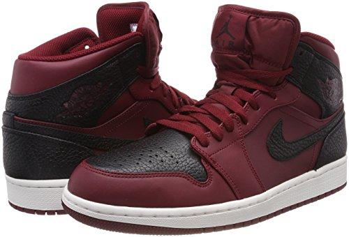 Nike Hommes Air Jordan 1 Mid Basketball Équipe De Chaussures Rouge Noir Sommet Blanc