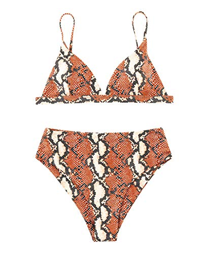 MOSHENGQI Women Cheeky Bikini Sets Padded Brazilian Top High Cut Bottom Floral 2 Piece Swimsuits(Large, Brown Snake Print91) ()