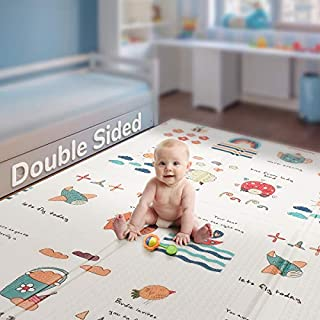"Folding Kids Play Mat |【Easy to Clean, Fold Up】Non-BPA Non-Toxic Foam Baby Playmat 79"" x 71"" 0.6"" Thick Extra Large Reversible Crawling Mat Portable Toddlers Waterproof Non-Slip Activity Tummy Time"