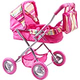 iPlay, iLearn Foldable Doll Stroller With Hood, My First Doll Stroller With Basket And Canopy. Doll Pram, Lightweight Pink Baby Stroller For 2, 3, 4, 5 Year Olds Kids, Baby, Toddler, Boys and Girls