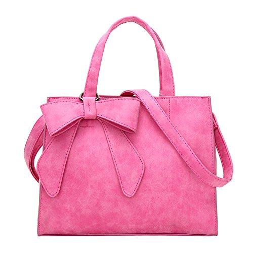 Women's Tote Purses and Handbags Bow Tie Leisure Top-Handle Cross-body Shoulder Bags (Fuchsia)