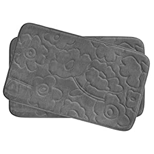 "Bounce Comfort Stencil Floral 2 Piece Memory Foam Bath Mat Set, 17 by 24"", Dark Grey"
