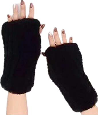 Black Faux Fur Fluffy Winter Warmer Fingerless Gloves Knitted Wool Mitten Vintag