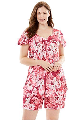 Amoureuse Women's Plus Size Luxe Satin Shorty PJ Set Ruby Berry Floral,18/20 Red Shorty Pajamas