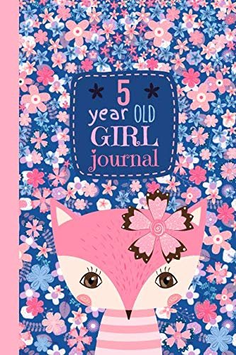 5 Year Old Girl Journal: Happy Birthday Notebook Wide Ruled and Blank Framed Sketchbook, Cute Pink Fox Diary for Five Year Old Kids to Keep Memories, Draw and Write