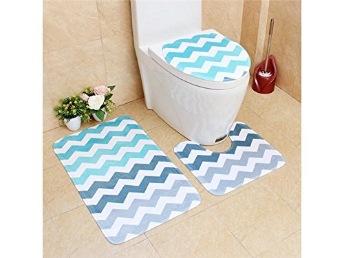Hezon 3 Packs Bathroom Set Non-Slip Retro Style Pedestal Rug+Lid Toilet Cover+Bath Mat (Wave) EASY TO USE by Hezon