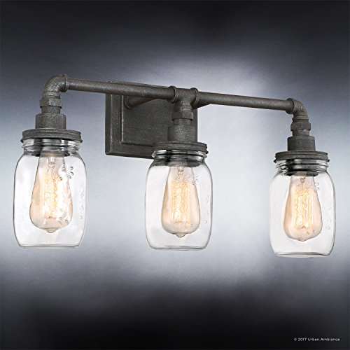 Luxury Industrial Bathroom Light, Medium Size: 11''H x 21.5''W, with Shabby Chic Style Elements, Aged Pipe Design, Antique Black Finish and Mason Jar With Floral Pattern, UQL2662 by Urban Ambiance by Urban Ambiance (Image #2)
