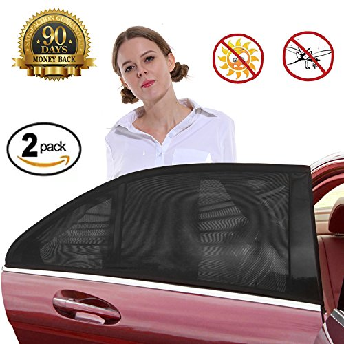 Car Sun Shade,Car Window Shade,Premium Breathable Mesh Sun Shield protect Baby/Pet from Sun's Glare & Harmful UV Rays,Fit For Cars,Most SUV (2pcs/Pack,Medium Size)