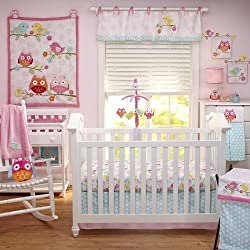 Nojo Love Birds 4 Piece Comforter Set with Diaper Stacker for girls