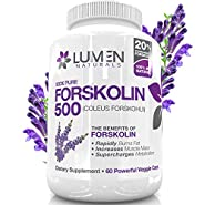 "Forskolin 500mg 2X Strength 20% Standardized - Get the ""Insta Belly Melt"" - 100% Pure Coleus Forskohlii Extract - Clinically Proven Supplement to Rapidly Burn Visceral Fat Leaving Lean Muscle Behind - Forskolin for Weight Loss Melts Fat & Supercharges Met"