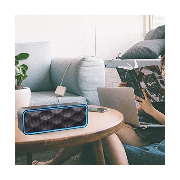 Enceinte Bluetooth Portable, Aigoss Haut Parleur sans Fil, Bluetooth 4.2 Subwoofer, Son HD Stéréo, Mains Libres Téléphone, Radio FM, Carte TF Support, pour iPhone, iPad, Samsung etc 6