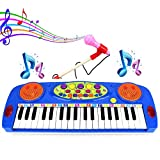 ASTOTSELL Kids Piano, 37 Keys Electric Organ Multifunction Kids Keyboard Piano Musical Instrument with Microphone (Blue)