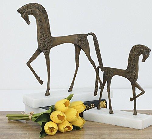 Handmade sculpture iron horse Retro Modern marble base art processing ( Size : S )