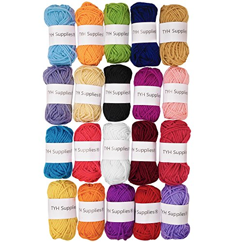 TYH Supplies 20-Pack 22 Yard Acrylic Yarn Assorted Colors Skeins - Perfect for Mini Knitting and Crochet Project ()