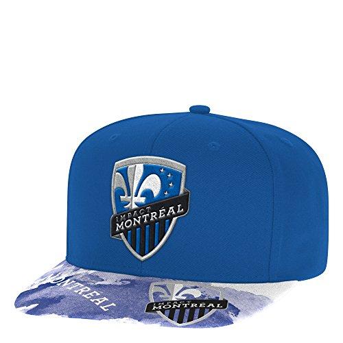 adidas MLS Montreal Impact Adult Men Sublimated Flat Brim Snapback Hat, One Size, Blue