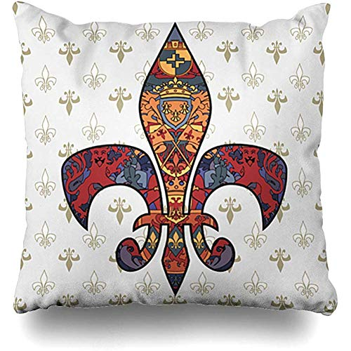 Throw Pillow Cover Pillows Cases Emblem Heraldic Fleur De Lis On Regular Flower Medieval Tatto Prince Lion Vintage Pattern Ribbon Home Decor Design Square 18 x 18 Inch Zippered Cushion Case (Chair Lis De Cushions Fleur)