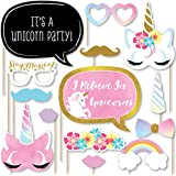 Rainbow Unicorn - Magical Unicorn Baby Shower or Birthday Party Photo Booth Props Kit - 20 Count