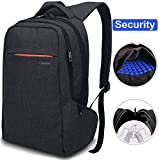 LAPACKER 15.6 inch Anti Theft Slim Water Resistant Women Men's Laptop Backpack Bag, Lightweight Business Travel College Computer Backpacks for Macbook in Black