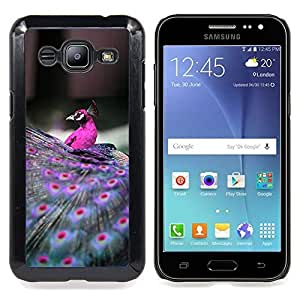 """For Samsung Galaxy J2 / J200 Case , Las plumas del pavo real Pájaro púrpura vibrante"""" - Diseño Patrón Teléfono Caso Cubierta Case Bumper Duro Protección Case Cover Funda"""