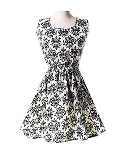 Amao Mini Floral Vintage Mousseline Sans Manches Femmes Robe Blanche