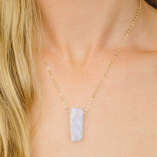Small slab blue lace agate crystal necklace in 14k gold fill - 16
