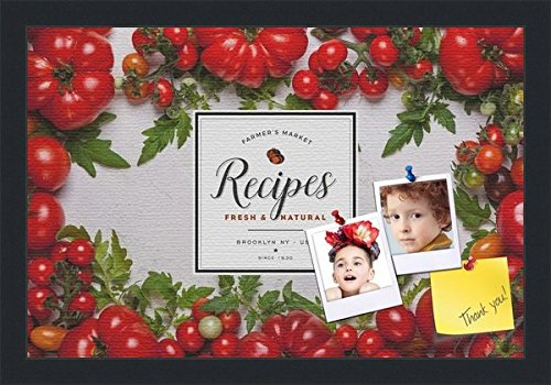 PinPix decorative pin cork bulletin board made from canvas, Recipe Board with Heirloom Tomatoes 18x12 Inches (Completed Size) and framed in Satin Black (PinPix-Group-36) (Best Heirloom Tomato Recipes)
