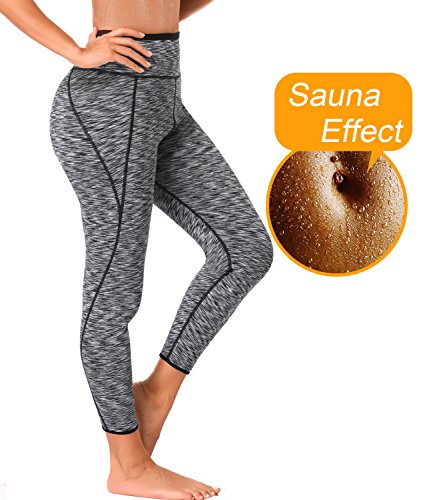 LAZAWG Women High Waist Sweat Slimming Yoga Pants Neoprene Sauna Leggings Shaper Grey (Cami Hot Pants)