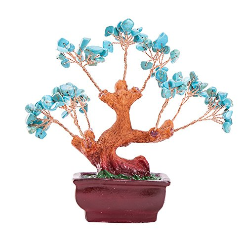 lue Turquoise Gemstone Quartz Bonsai Money Tree ()