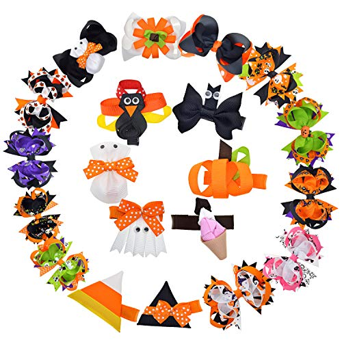 Boutique clips Grosgrain Ribbon Halloween Hair Bows with Ghost Pumpkin Pattern for Little Toddlers Baby Girls