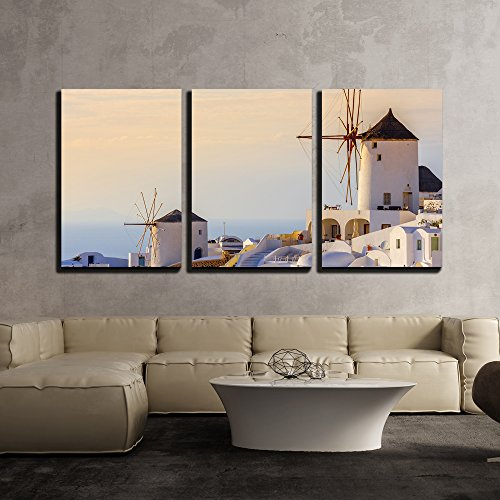 wall26 - 3 Piece Canvas Wall Art - Famous View of Oia Village at The Island Santorini, Greece in Sunset Rays - Modern Home Decor Stretched and Framed Ready to - Santorini Oia Framed Art Greece