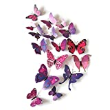 KingMas® 12Pcs 3D Butterfly Wall Decals Removable Sticker Kids Room Nursery Decoration (Purple)