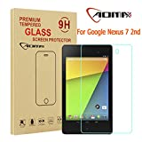 Aomax® For Google Nexus 7 2nd (2013) Gen Tempered Glass Screen Protector [Superslim 0.26mm,9H Hardness] [Retail Package] (LG Nexus 7 2nd Glass)