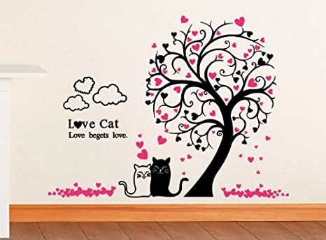 Vinilo decorativo pegatina pared, cristal, puerta (Varios colores a elegir)- gatos arbol corazones: Amazon.es: Hogar