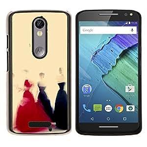 TECHCASE---Cubierta de la caja de protección para la piel dura ** Motorola Moto X ( 3rd Generation ) ** --Vestido Negro Rojo Amarillo Moda Arte