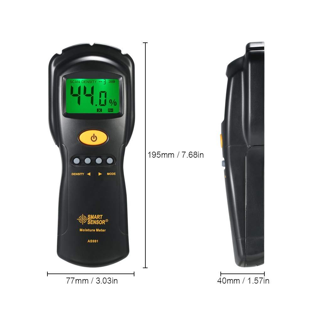 Digital hygrometer Moisture Meter for wood/cardboard Lumber Humidity Tester Fast & Precise Microwave Measurement LCD display by SMART SENSOR (Image #4)
