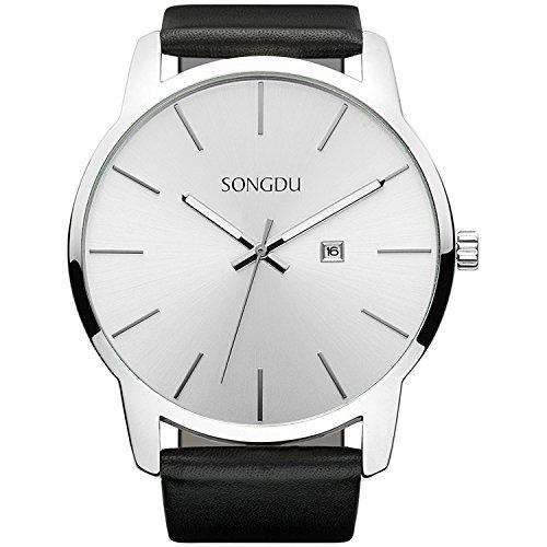 SONGDU Big Face Men's White Analog Date Stainless Steel Black Leather Strap Wrist