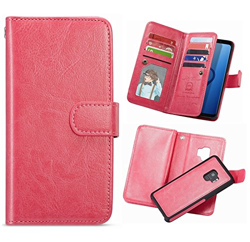 Galaxy S9 Plus Wallet Case,HYSJY S9 Plus PU Leather Detachable Magnetic 9 Card Slots Holder for Women With Shockpfoof flip Slim Cover Shell Cash Pocket Fit Samsung Galaxy S9Plus 6.2inch (9 Card-Rose) by HYSJY