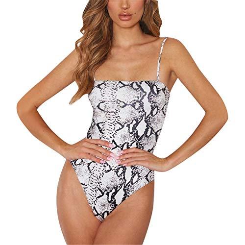 Thenxin Womens Cami Leopard Bodysuit Spaghetti Straps Snake Print Sleeveless Bodycon Jumpsuit(White,M) ()