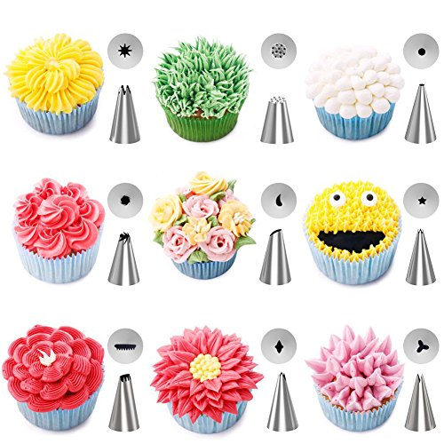Kootek 42-Piece Cake Decorating Supplies Sets with Icing Tips, Pastry Bags, Icing Smoother, Piping Nozzles Coupler, Flower Nails, Decorating Pen, Flower Lifter for Cake Decoration Baking Tools by Kootek (Image #2)