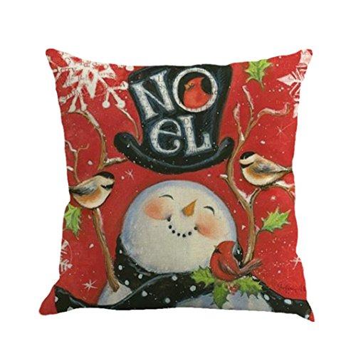 Sothread Cute Snowmen Throw Pillow Cover Square Sofa Decor Cushion Cover PillowCase 18