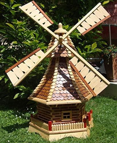 XXL molino de viento, molinos de viento jardín, con tejado de madera, sin PREMIUM-2X - iluminación solar-accesorios, caja de herramientas de metal WMS130he-OS 1,30 m grande marrón claro: Amazon.es: Hogar