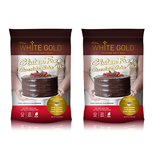 Extra White Gold Gluten Free Chocolate Cake Mix - For Baking Cakes Cupcakes Desserts - [Kosher] [Gluten Free] [Vegan] [Soy Free] [Nut Free] [Dairy Free] - 15.9 Ounces (2 pack)