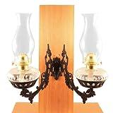 Vermont Lanterns - Dual Glass Oil Lamp w/Cast Iron Wall Bracket (Clear)
