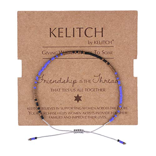 KELITCH Simple Friendship Bracelet Handmade Adjustable Seed Beaded String Strand Bracelet Fashion Charm Jewelry Girl Women(Royal Blue Black) ()