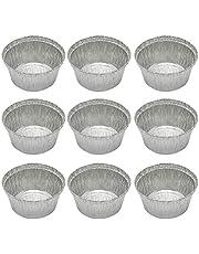 50 Pcs 285ML Tin Foil Bowls Aluminum Foil Round Disposable BBQ Tray Pie Pans for Homemade Cakes Pies -12x4.1cm (Without Lid)